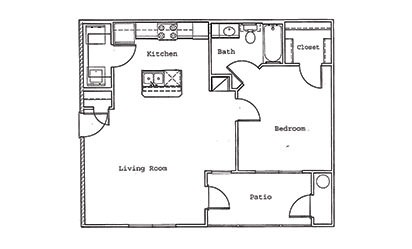 Cypress - 1 bedroom floorplan layout with 1 bath and 762 square feet