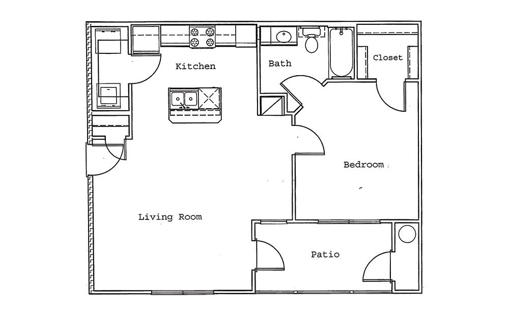 Cypress - 1 bedroom floorplan layout with 1 bath and 762 square feet (1st floor 2D)