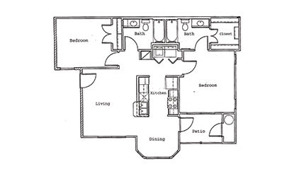 Magnolia - 2 bedroom floorplan layout with 2 bath and 940 square feet
