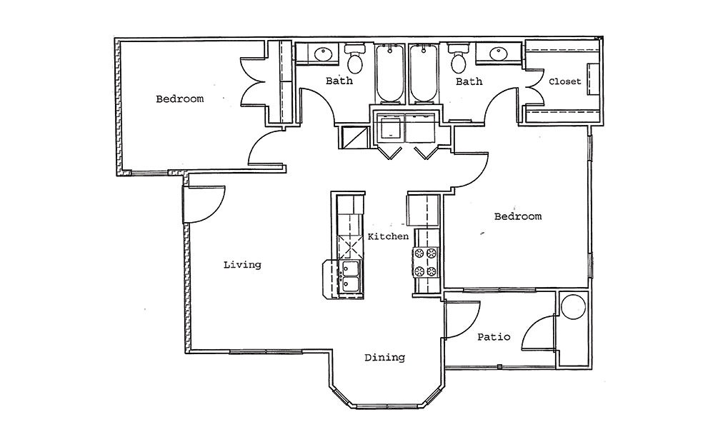 Magnolia - 2 bedroom floorplan layout with 2 bath and 940 square feet (1st floor 2D)