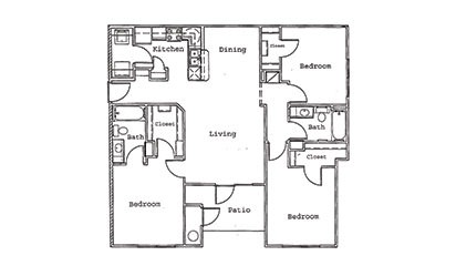 Maple - 3 bedroom floorplan layout with 2 bath and 1261 square feet
