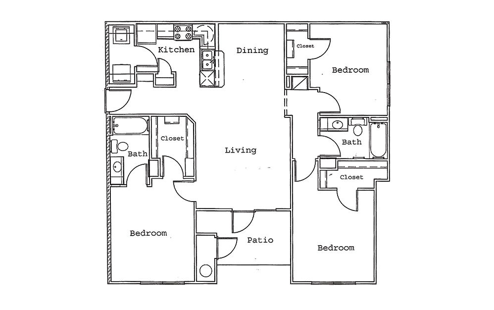 Maple - 3 bedroom floorplan layout with 2 bath and 1261 square feet (1st floor 2D)