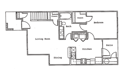 Pine - 3 bedroom floorplan layout with 2 bath and 1286 square feet