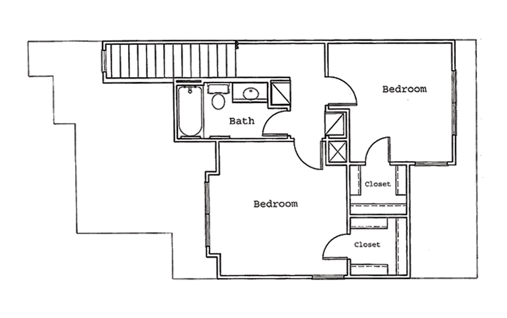 Pine - 3 bedroom floorplan layout with 2 bath and 1286 square feet (2nd floor 2D)