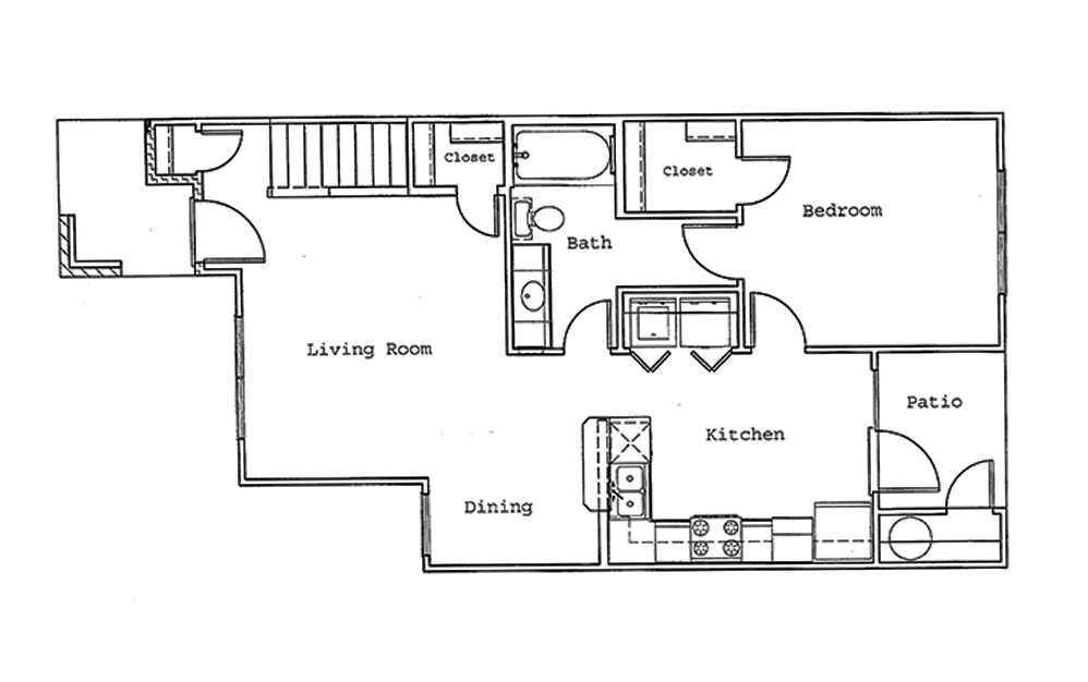 Pine - 3 bedroom floorplan layout with 2 bath and 1286 square feet (1st floor 2D)